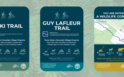 New trail signage being installed on TSMV lands thanks to support from CAMBA